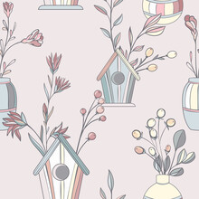 Scandinavian Abstract Seamless Pattern With Flowers And Birdhouses