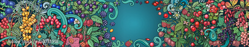 Berries, fruits hand drawn raster doodles banner