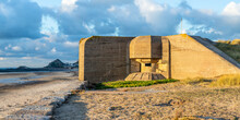 WWII Concrete Nazi Bunker On The Seashore Of Saint Ouens Bay, Bailiwick Of Jersey, Channel Islands