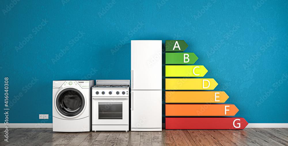 Fototapeta Energieeffizienzklassen von A bis G