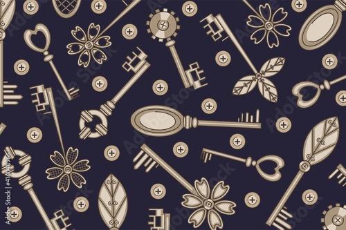 Obraz na plátně Steampunk. Texture. Vintage keys.