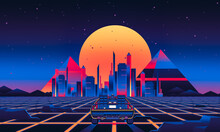 90s 80s Delorean Car Retrowave Synthwave Car Driving With Sunset And City In Background