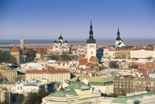 Elevated Winter View Over The Old Town Towards Alexander Nevsky Cathedral, Tallinn, UNESCO World Heritage Site, Estonia, Baltic States, Europe