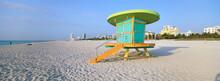 Art Deco Style Lifeguard Hut, South Beach, Miami Beach, Miami, Florida, United States Of America, North America