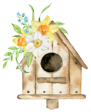 Spring Bird House With Yellow Narcissuses And Forget-me-not Flowers. Watercolor Hand-drawn Illustration. Easter Card.