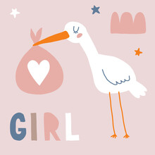 Baby Shower Vector Card With Funny White Stork Holding Big Pink Bag. Cute Hand Drawn Illustration For Baby Girl Welcome Party. White Bird On A Beige Background.