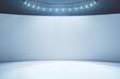 Leinwandbild Motiv Blank light wall and white floor in empty hall room with led light on top. Mockup