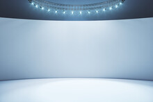 Blank Light Wall And White Floor In Empty Hall Room With Led Light On Top. Mockup