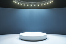 White Round Podium On Light Floor In Empty Hall With Dark Wall And Led Lights