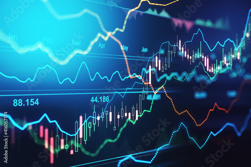 World trading concept with financial graphs, glowing candlestick and diagram on Fototapete