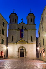 St. Nicholas Serbian Orthodox Church Illuminated At Dusk, Old Town, UNESCO World Heritage Site, Kotor, Montenegro, Europe