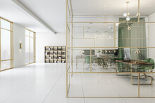 Spacious Office With Green And Gold Interior, Cabinet With Glass Wall And Perfect Furniture