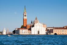 View From Quay At St. Mark's Square To San Giorgio Maggiore Island, Venice, UNESCO World Heritage Site, Veneto, Italy, Europe