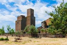 Medieval Towers At San Pietro Church, Tuscania, Viterbo Province, Latium, Italy, Europe