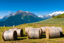 Hay Bales, Grivola And Grand Nomenon Mountains, Aosta Valley, Italian Alps, Italy, Europe