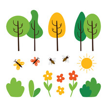 Set, Collection Of Nature, Landscape Vector Design Elements Suitable For Spring, Summer, Autumn Seasons. Trees, Butterflies, Bees, Bushes, Flowers And Sun Icons.