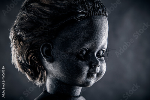 Obraz na plátne Creepy doll in the dark
