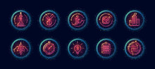 10 In 1 Vector Icons Set Related To Career Evolution Theme. Lineart Vector Icons In Geometric Neon Glow Style With Particles Isolated On Background.