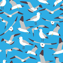 Seagull Vector Cartoon Seamless Pattern. Background For Wallpaper, Wrapping, Packing, And Backdrop.
