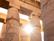 The Karnak Temple Of Luxor, Egypt. This Was The Largest Temple Complex Of Amun-Ra God In Ancient Thebes Town