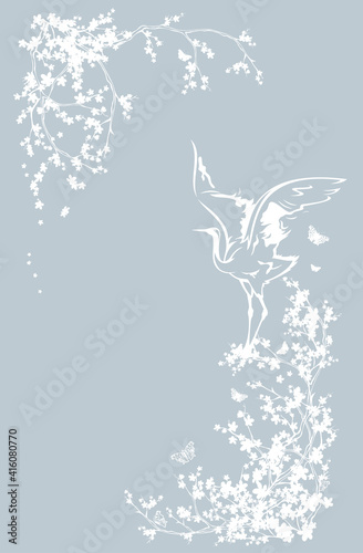 Fototapeta premium japanese crane bird standing among blooming sakura tree branches with flying butterflies - asian style spring season copy space vector background