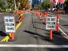 Traffic Is Diverted During The Ongoing Renewal And Maintenance Program On St Kilda Road - Melbourne.