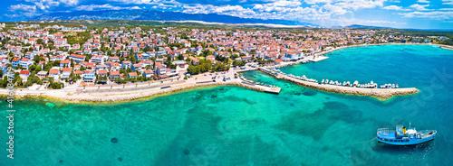 Fototapeta Town of Novalja beach and waterfront on Pag island aerial panoramic view