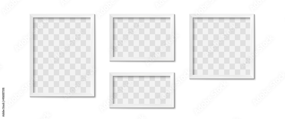 Fototapeta White picture frames. Empty gray simple image square border with shadow on gallery wall. Isolated photo framing design vector realistic 3D template with transparent place for image of different shape