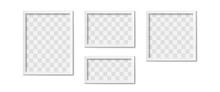White Picture Frames. Empty Gray Simple Image Square Border With Shadow On Gallery Wall. Isolated Photo Framing Design Vector Realistic 3D Template With Transparent Place For Image Of Different Shape