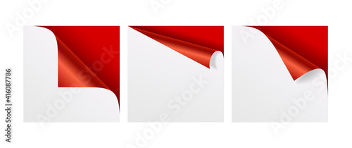 Canvas Print Set of curled red corners of white paper with shadow