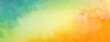 Leinwandbild Motiv Colorful watercolor background of abstract sunset sky with paint blotches and soft blurred texture in blue green yellow beige and orange border in gradient paint colors