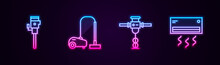 Set Line Construction Jackhammer, Vacuum Cleaner, And Air Conditioner. Glowing Neon Icon. Vector.