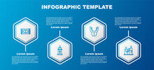 Set Line Traditional Carpet, Church Pastor Preaching, Hands Praying Position And Burning Candles. Business Infographic Template. Vector.