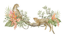 Watercolor Leopards Sit On A Tree With Leaves, Flowers, Plants. Wild Jungle Animals And Bright Tropical Foliage
