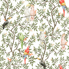 Watercolor Seamless Pattern With Trees And Parrots. Vintage Background In Victorian Style. Boho Paradise Jungle With Branch And Birds. Ara, Toucan, Cockatoo, In Blossom Tree.
