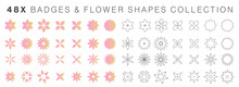 Geometric Pink Badges And Flower Shapes Set Collection. Circular Vector Abstract Elements Pack In The Shape Of Badges, Flowers, Snowflakes, Mandalas, Crosses Or Abstract Symbols, Icons Or Logos