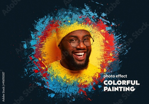 Fototapeta Colorful Painting Photo Effect Mockup obraz