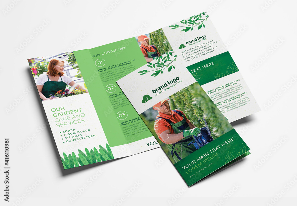 Fototapeta Trifold Green Gardener Gardent Care and Services Flyer Layouts