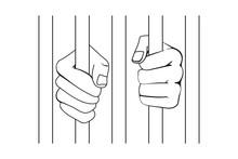 Prisoner Fists Behind Bars Or Hands Holding Prison Bars In Vector Outline