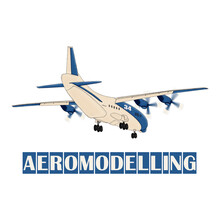 Airplane Model With The Inscription Aeromodelling. Illustration For Printing.