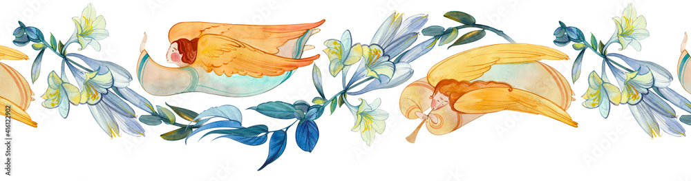 Fototapeta Watercolor seamless banner with angels and flowers. Easter ornament, wedding, church background, birthday decoration..Easter, Christmas, baptism, Pentecost, religious banner, Christian prints