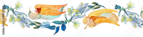 Obraz Watercolor seamless banner with angels and flowers. Easter ornament, wedding, church background, birthday decoration..Easter, Christmas, baptism, Pentecost, religious banner, Christian prints - fototapety do salonu