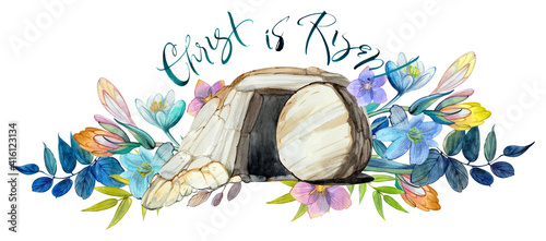 Fotografia Easter watercolor illustration: the cave of Jesus Christ, a flower wreath, the i