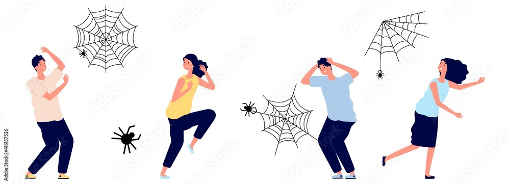 Fototapeta Arachnophobia. People irrational extreme fear spiders. Cobweb and insects, man woman in panic or stress, afraid vector characters. Arachnophobia and fear arachnid, phobia insect toxic illustration