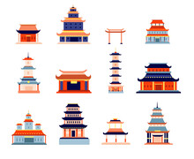 Chinese Buildings. China Town, Temple Culture Symbol Design. Asia Architecture, Ancient Pagoda, Japanese Or Korean House Vector Set. Illustration Building Chinese Temple, Landmark House Architecture