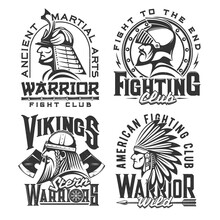 Tshirt Print With Ancient Warriors, Vector Mascot For Fighting Club Apparel Design. Samurai, Viking, Indian Chef And Medieval Knight Isolated Labels With Typography. Monochrome T Shirt Prints, Emblems