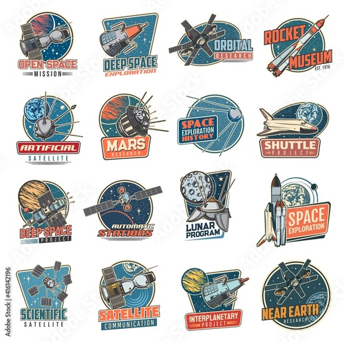 Valokuva Space vector retro icons mars mission, rocket museum and near earth orbital station, moon program, artificial satellite and deep space exploration