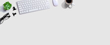 Computer Keyboard With A Cup Of Coffee And Eyeglasses - Flat Lay