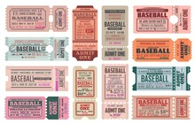 Baseball Sport Game Retro Tickets Templates Set. Team Competition Cup Or Sport Event Entrance Vintage Pass. Baseball Championship Paper Tickets, Admit Cards Separated In Two Parts With Perforation