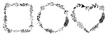 Set Of Floral Frames Of Different Shapes With Black Meadow Herbs. Floral Wreaths. Element Design.